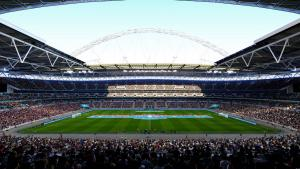 Una veduta di uno stadio in PES 2021.